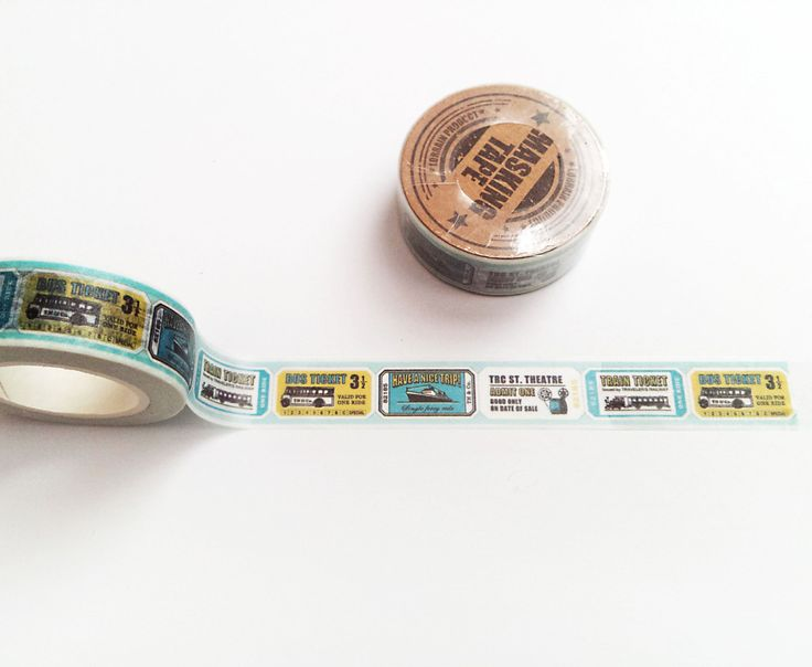 Travel Washi Tape, Bus Ticket Washi Roll, Vintage, Planner Goodies, Scrapbook Supplies