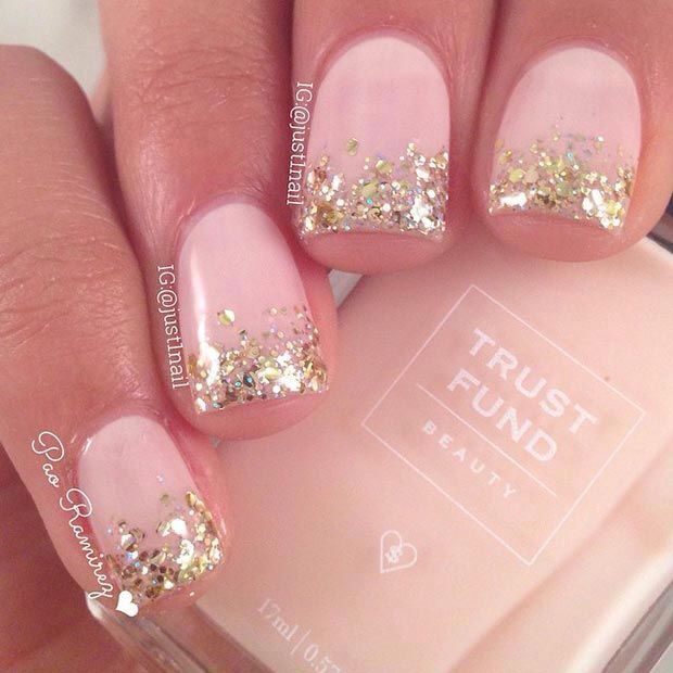 Gorgeous! A touch of glitter turns a pretty and soft colour into something a little more elegant. (:
