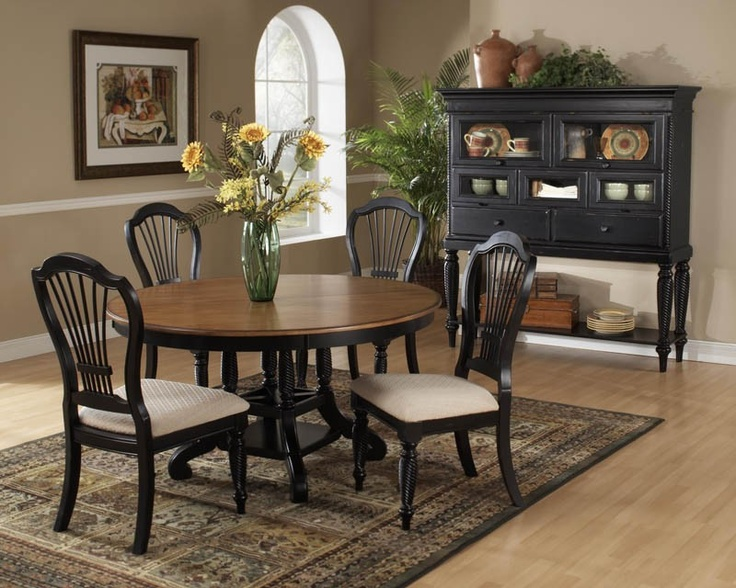 Hillsdale Wilshire Rubbed Black 5 Piece Round Dining Set With Side Chairs Also Available In