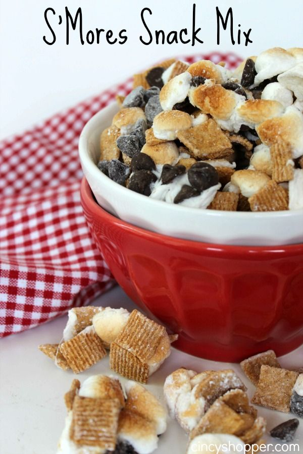 S'mores Snack Mix Recipe. This stuff is GREAT! The kiddos and hubby polished off a bowl in just a few minutes time.