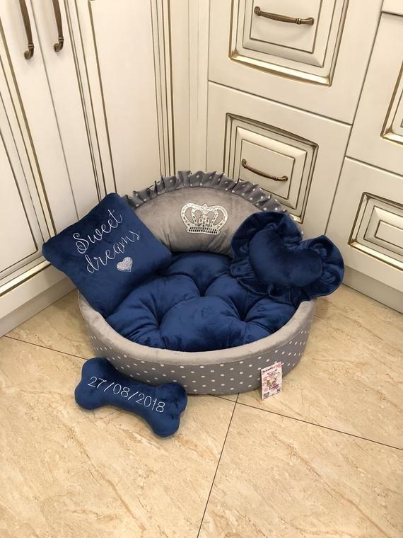 Navy Blue And Grey Polka Dot Designer Dog Bed Personalized Dog Etsy Designer Dog Beds Easy Diy Room Decor Dog Bed