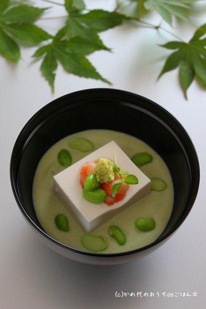 「枝豆と豆乳のポタージュ」 レシピブログ暮らしのアンテナ掲載 & おつまみ3行レシピ|かめ代オフィシャルブログ「かめ代のおうちdeごはん」Powered by Ameba