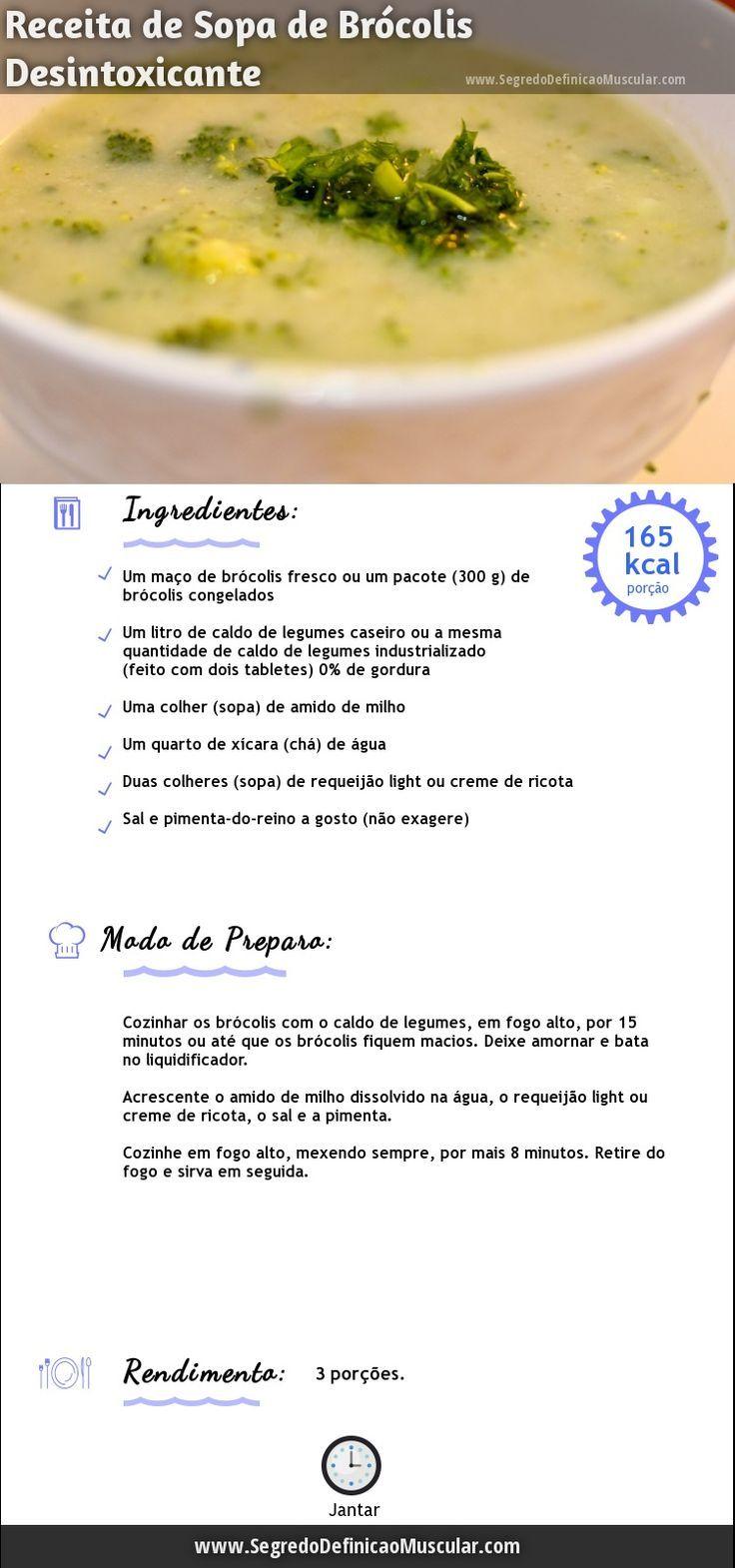 Sopa de Brócolis Desintoxicante → http://www.segredodefinicaomuscular.com/receita-leve-de-sopa-de-brocolis-desintoxicante/ #Dieta