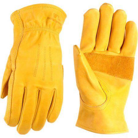 Wells Lamont Heavy Duty Grain Cowhide Extra Wear Palm Leather Work Gloves, Saddletan, Beige