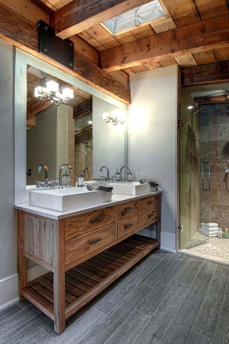 Luxury canadian home reveals splendid rustic modern for Salle de bain bois et beton