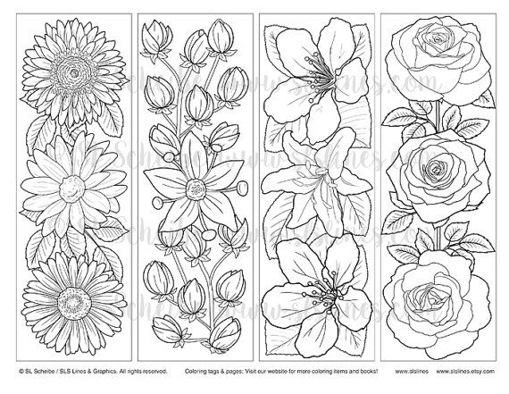 downloadable PDF bookmark coloring with flower design
