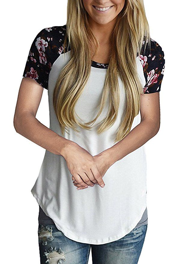 7cf815d1b Allimy Women Summer Casual Short Sleeve Floral Print Tops Blouses S-2X at Amazon  Women's