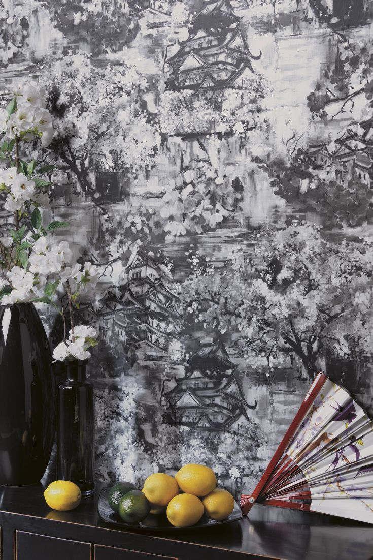 An Elegant Wallpaper Featuring A Paint Effect Design Of Chinese Temples,  Surrounded By Delicate Trailing