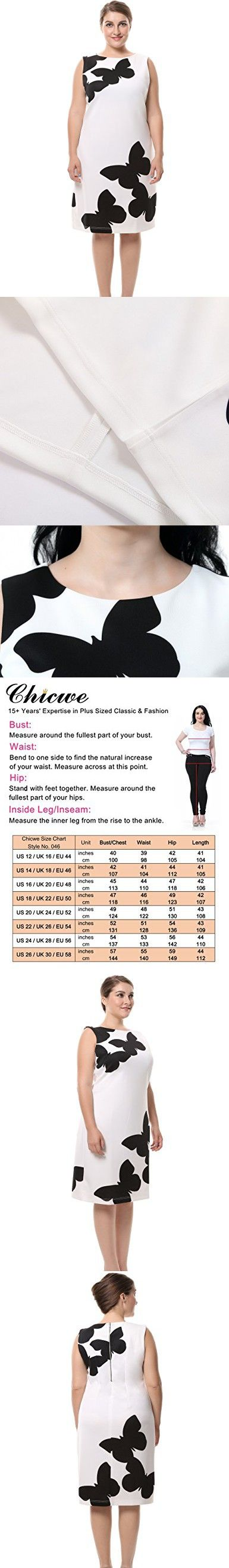 Chicwe Women's Sleeveless Plus Size Butterfly Printed Dress with Back Metal Zip 20, White/Black