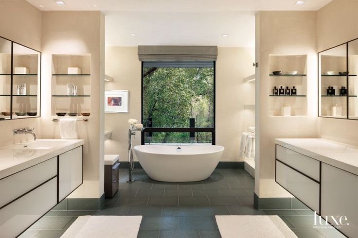 Contemporary Cream Bathroom with White-Glass-and-Walnut Vanities   LuxeSource   Luxe Magazine - The Luxury Home Redefined