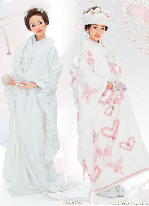 Japanese white wedding kimono with ceremonial over coat with long train uchikake