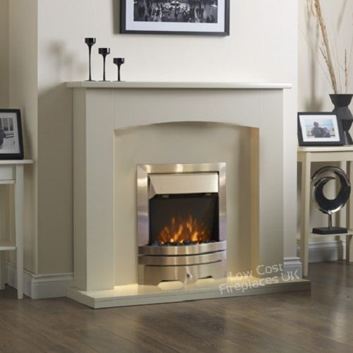 ELECTRIC CREAM IVORY SILVER FIRE LED FLAME WALL SURROUND FIREPLACE SUITE 48