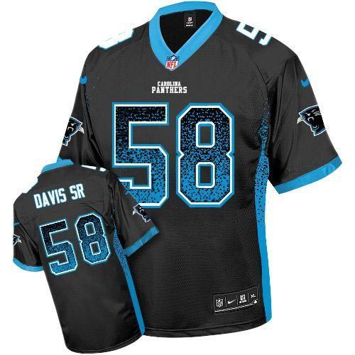 nike panthers 58 thomas davis sr black team color mens stitched nfl elite drift fashion