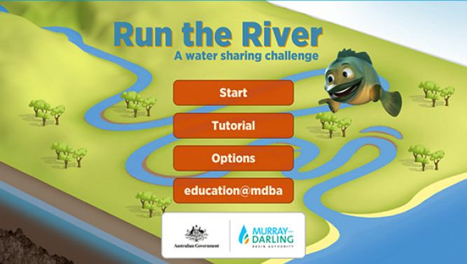 Run the River – a water sharing challenge is a free, interactive game designed for Apple and Android devices. The app has been developed with historic and modelled data from the Murray–Darling Basin.  Run the River combines elements of the natural water cycle with the challenges of balancing water use between various water consumers including the river mouth, wetlands, farms, towns and cities. Players must control water releases from the dam and balance water use between...