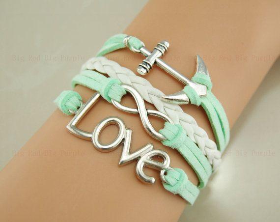 Mint green anchor ring braceletinfinity bracelet leather Birthday gift etsy