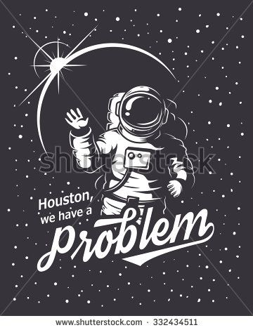 T-shirt design print. Space theme. Monochrome style - stock vector