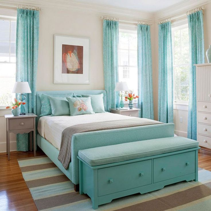 blue curtains girls bedrooms color blue with blue bed on the stripped rug on the wooden - Bedroom Curtain Design Ideas