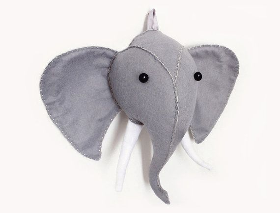 Elephant head pattern plush felt faux taxidermy by aicreatures diy projects to try - Fake stuffed moose head ...