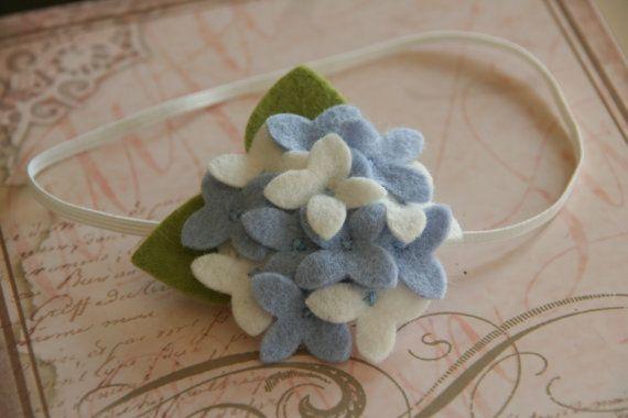 Felt Flower Headband Hydrangea Headband in Blue and White Baby Headband Toddler Headband Girls Headband. $14,99, via Etsy.