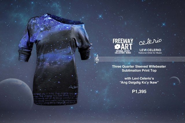Off shoulder sublimation knit tunic top with galaxy print and Levi Celerio 'Ang Daigdig Ko'y Ikaw' lyrics.