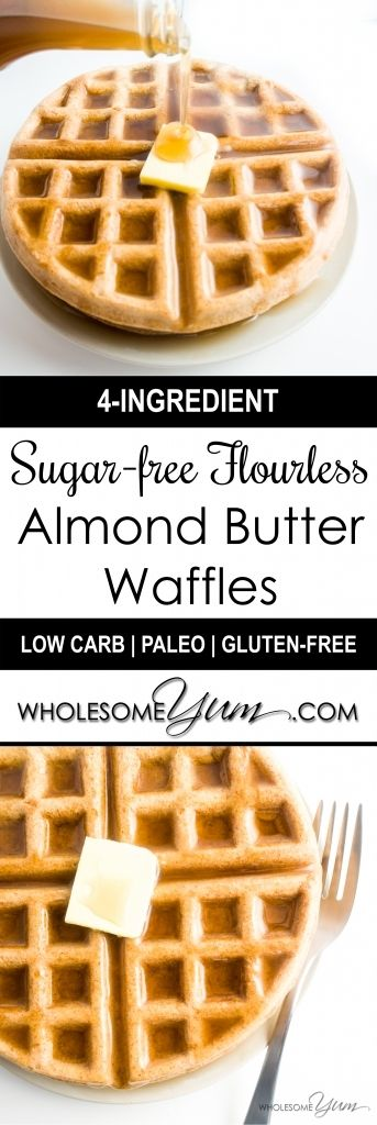 Flourless Almond Butter Waffles (Paleo, Low Carb) - These delicious, nutty waffles are naturally paleo, low carb, and gluten-free. Made with just four simple ingredients, and no flour of any kind! | Wholesome Yum - Natural, gluten-free, low carb recipes. 10 ingredients or less.