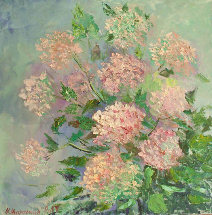 Купить Картина маслом. Розовые гортензии - позитивная живопись, позитив, галерея позитива, масло, мастихин