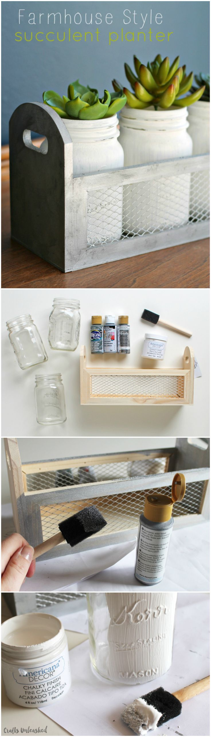 This stylish DIY succulent planter box is the perfect way to add farmhouse flair to an end table, bookcase or entry table.