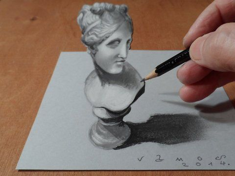 "How to draw a 3D Venus. Trick Art. Optical Illusion. Step by step.<br />Mixed media.<br />Materials used: <br />Pastell paper: light gray.  <br />H graphit pencil (Derwent) <br />Grey markers: Letraset PROMARKER cool grey <br />Prismacolor colored pencils.<br />Black and White ""charcoal"" pencil.<br />Soft eraser.<br />Music: Pachabelly - Huma - Huma,<br />Készítette: Vámos Sándor<br />By Vamos Sandor, copyright, 2014."