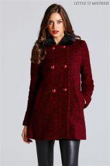 Little Mistress Faux Fur Collar Coat