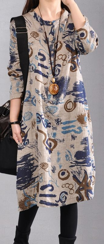 fashion gray Midi linen dresses trendy plus size casual dress