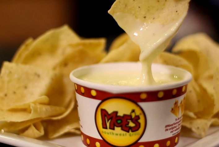 Moes Famous Queso Recipe - HellthyJunkFood [6 Slices (19g) White American Cheese 2 Slices Pepperjack Cheese 1 Cup Heavy Cream 1/4 Cup Jalapeno Juice from the Jar 1/8 Cup Diced Jalapeno Peppers 1 Tbsp White Distilled Vinegar 1 Tsp Salt]