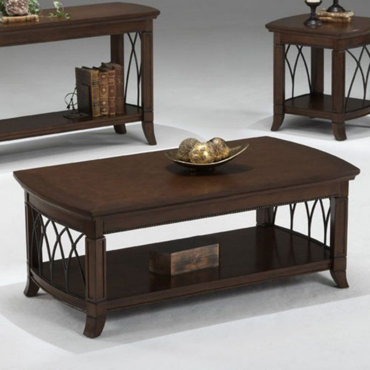 Bernards Cathedral Cherry With Metal Coffee Table 8620