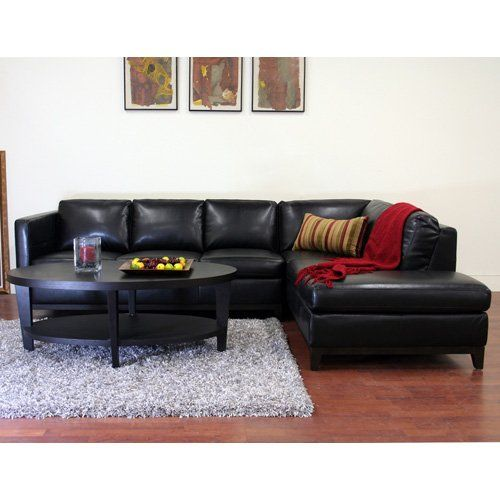 wholesale interiors rohn black leather sectional sofa