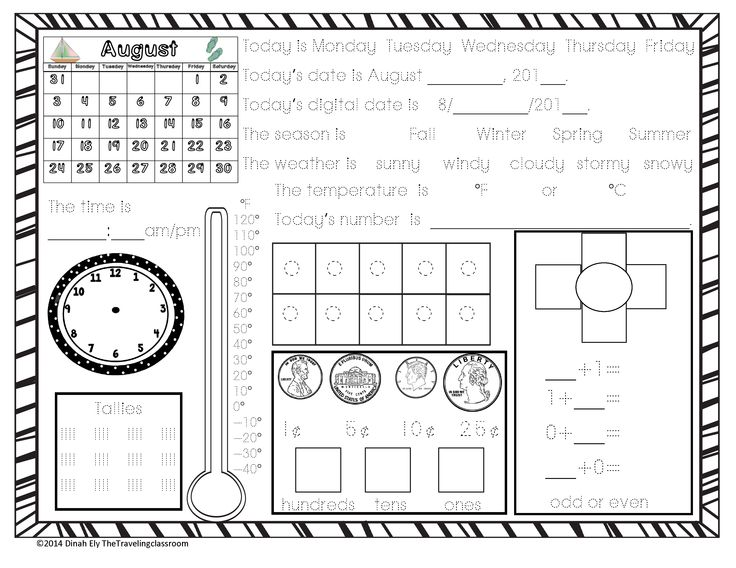 Calendar Kindergarten Worksheets : This is a free page demo of calendar time worksheets