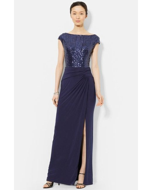 Lauren by Ralph Lauren | Blue Sequin \u0026 Jersey Gown | Lyst