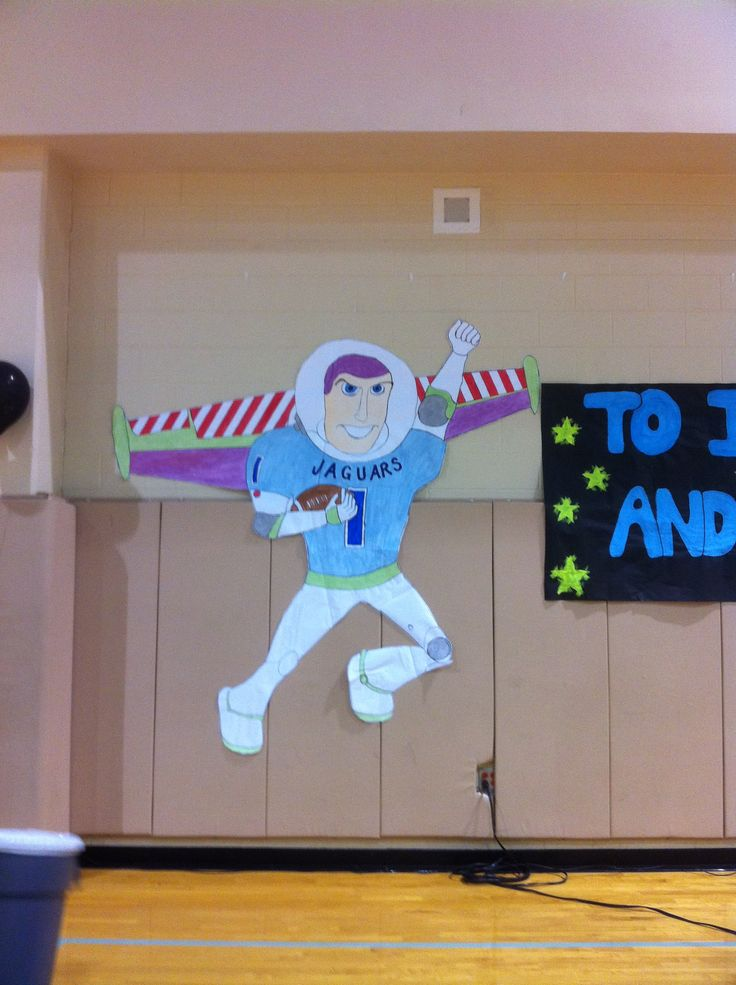 To Infinity And Beyond Pep Rally Theme Buzz Lightyear Dressed In A Johnson Jaguar S Football Jersey Pep Rally Themes Rally Idea Pep Rally