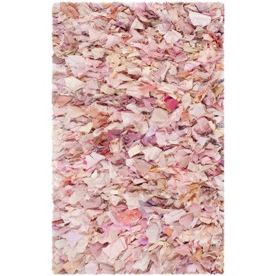 Found it at Wayfair - Ivory/Pink Shag Area Rug