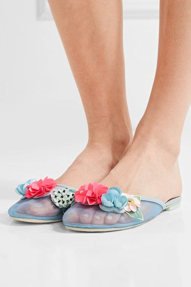 Sophia Webster - Lilico Leather-trimmed Embellished Mesh Slippers - Blue
