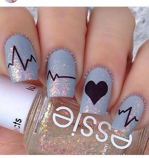 """I listen to her heart beat.. cuz it plays my favorite song"" - baby blue sparkly heart beat nail art...x"