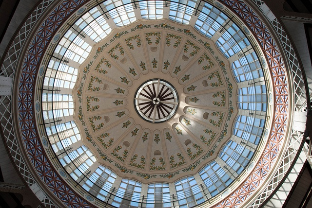 Modernist dome of the Mercado de Colon, Valencia, Spain