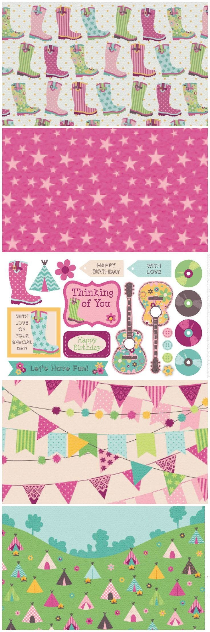 Scrapbook paper england theme - Give Your Card Making And Scrapbooking A Funky Summer Festival Vibe With These Free Digital Papers