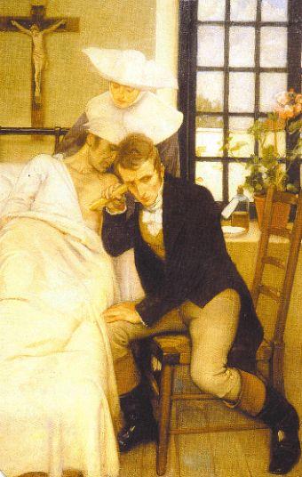 "Laennec auscultando a un paciente (""Laennec listening to the chest of a patient""). Ernest Board. 1910. Localización: colección particular. https://painthealth.wordpress.com/2017/12/01/laennec-auscultando-a-un-paciente/"