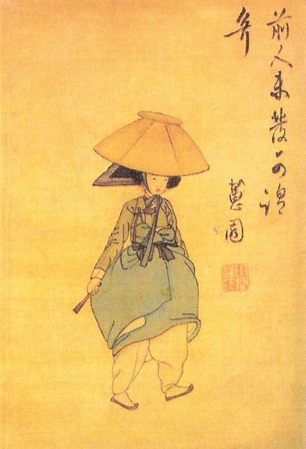 Shin yunbok - Woman with a hat