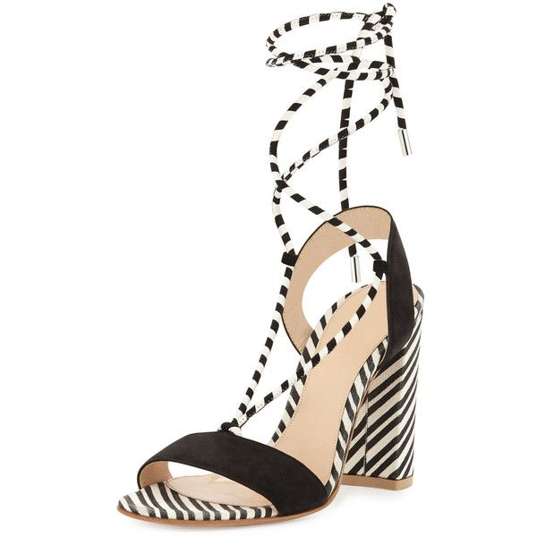 Gianvito Rossi Nautical Striped Lace-Up Sandal ($845) ❤ liked on Polyvore featuring shoes, sandals, shoes sandals, laced sandals, open toe sandals, strap sandals, block heel strappy sandal and self tying shoes