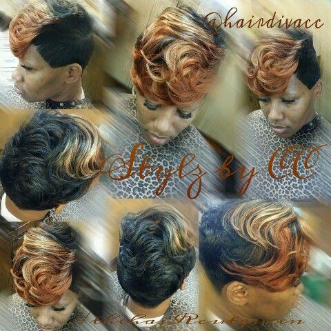 tri color short hair black women