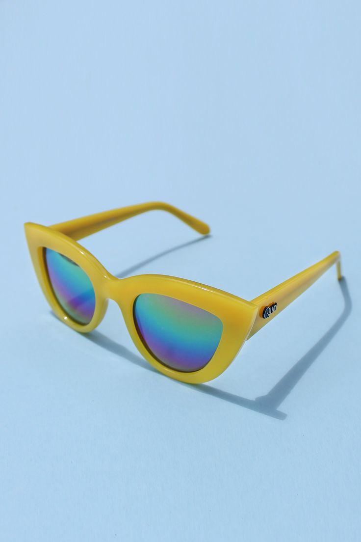 QUAY Kitti Sunglasses - Yellow with Rainbow Mirror Lens