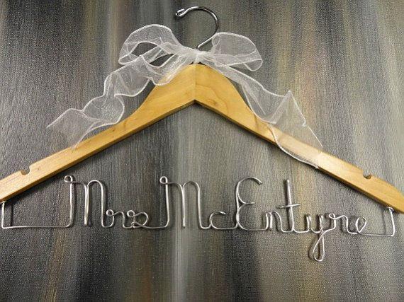 Last Name Hangers Custom Name Hangers by OriginalBridalHanger, #WeddingHangers #LastNameHangers, $25
