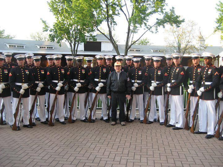 The Veteran asked ONE of the Marines if he could have a photo taken with him…. Well, as you can see from the photo the Marines answer.
