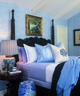 Blue And White Against Dark British Colonial Furniture. (Chinoiserie Chic)    Barclay Butera