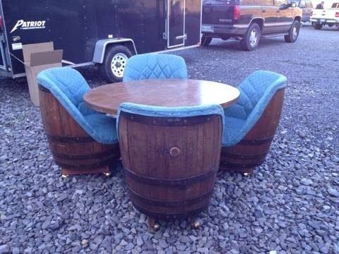 Vintage 1970s Whiskey Barrel Chairs And Table, Pub Retro Card Poker